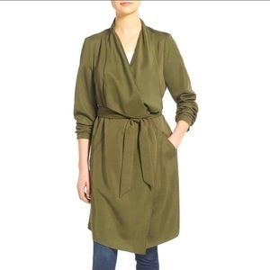 KENSIE Soft draped belted midi trench coat